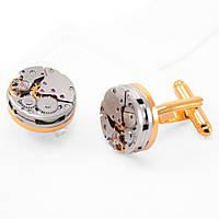 Запонки Bow Tie House золотистые/никель с механизмом часов 08983