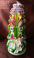 Резная свеча украшенная Орхидеей №3003 (Разноцветная)  22 см высотой