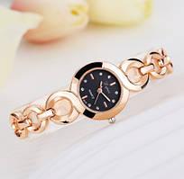 Женские наручные часы с чёрным циферблатом