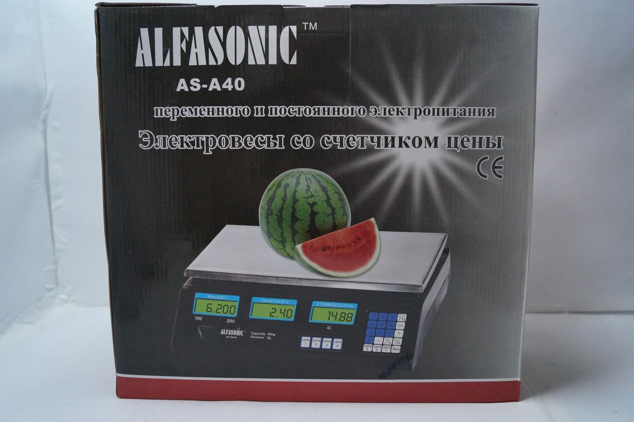 Весы торговые Alfasonik AS-A40  40 кг с счетчиком цены