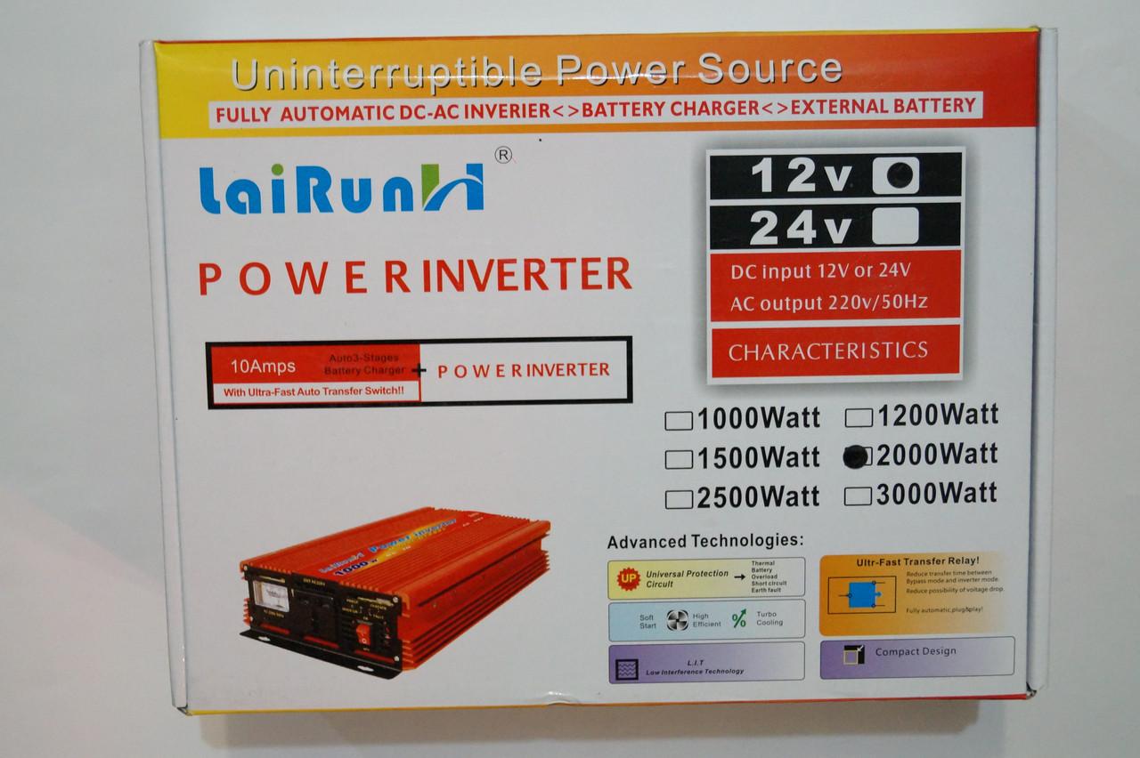 Инвертор напряжения 2000 w R, преобразователь 12/220 2000w, фото 1