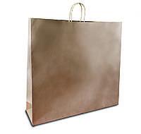 Бумажный пакет из крафта 540*140*480 мм коричневый с ручкой без печати.