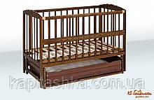 Ліжечко дитяче на шарнірах + ящик + відкидна боковина (бук)