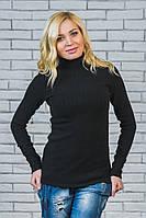 Водолазка женская шерсть-рубчик черная, фото 1