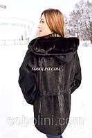 Шикарная шуба из меха нутрии+норка в шоу руме г.Киева с капюшоном, цвет горький шоколад