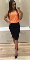Молодёжное платье комбинированное юбка и блуза