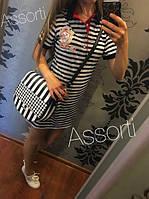 Летнее стильное платье в полоску тельняшка