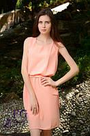 Яркое летнее платье с поясом и жемчужинами на плечах