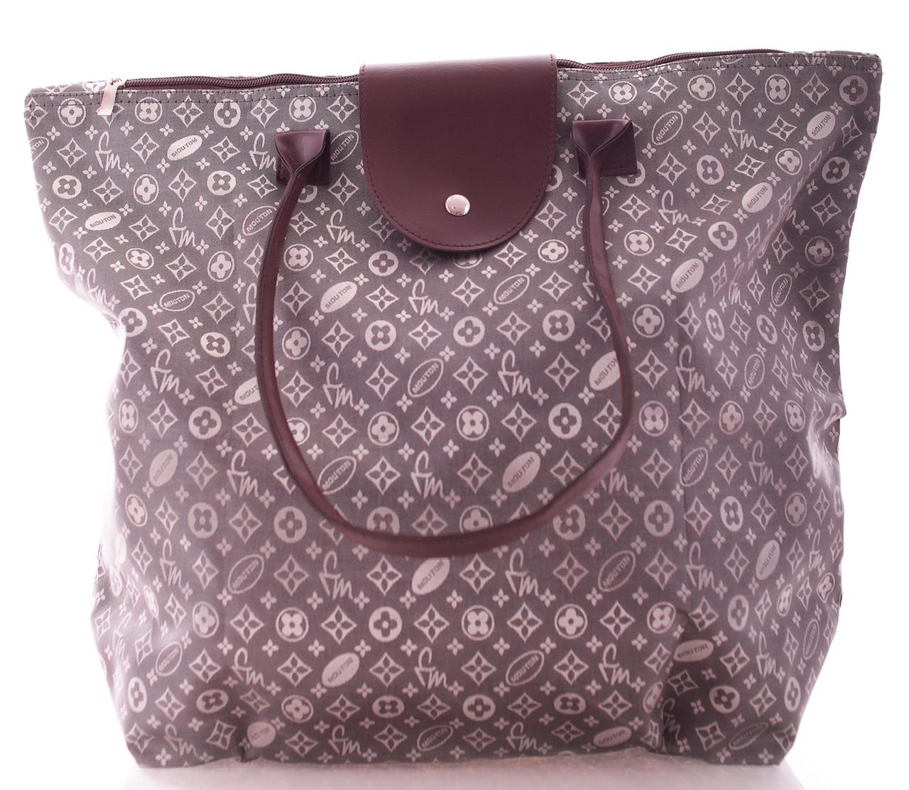 Сумка женская текстиля Grey beach bag серая