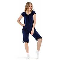 Очень красивая пижама бриджи и футболка с гипюром 943