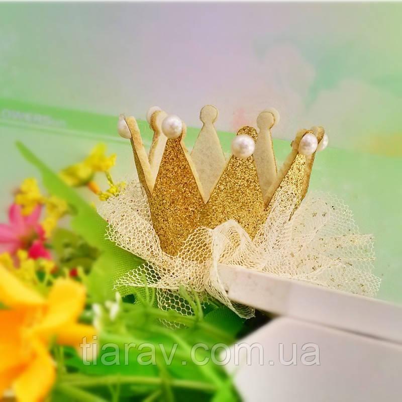 Корона дитяча шпилька СЬЮЗІ для волосся золота Тіара Вікторія дитячі прикраси