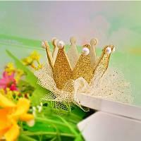 Корона детская заколка СЬЮЗИ для волос золотая Тиара Виктория детские украшения