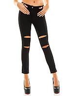 Женские брюки - лосины с разрезами на коленях