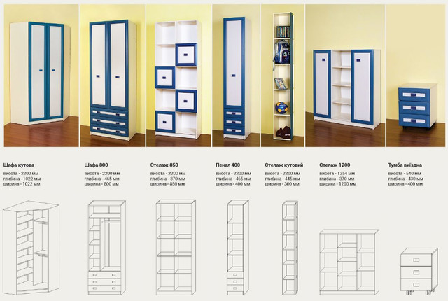 Детская комната Твинс (элементы, размеры, фото 2)