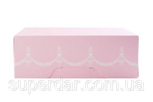 Коробка для 6 капкейков 255х180х90 мм. склеенная и со вставкой, розовая