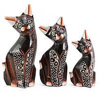 Кошки 3 шт деревянные коричневые
