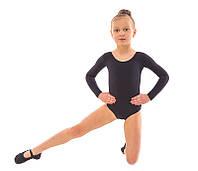 Черный купальник для танцев из хлопка с длинным рукавом Dance&Sport N6028
