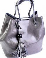 Кожаная серая сумка - мешок бренд Vidoliya