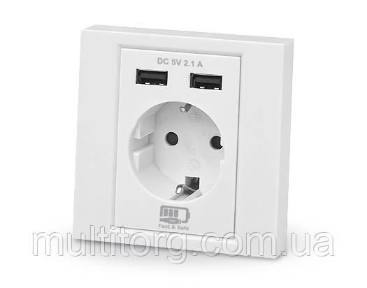 Розетка с USB зарядкой REAL-EL CSW-220