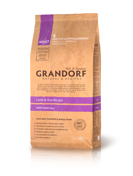 Grandorf Adult Large Breed ягненок с рисом для взрослых собак крупных пород  3 кг