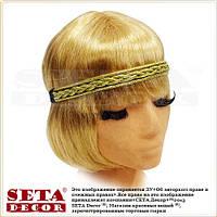 Резинка, повязка на голову Гламур золотистая для волос