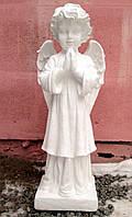 Памятники скульптуры. Скульптура Ангела молящегося №23 белый бетон 68 см, фото 1