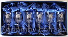 Набор хрустальных бокалов для вина с гербом Украины Suggest арт. PB41561