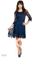 Ярко-синее кружевное вечернее платье с подкладкой