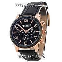 Часы мужские наручные Montblanc TimeWalker Mechanic Black-Gold-Black