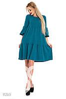 Пышное  платье-трапеция с воланами бирюзового цвета