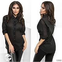 Оригинальная легкая рубашка асимметричной длины с рукавами 3/4.
