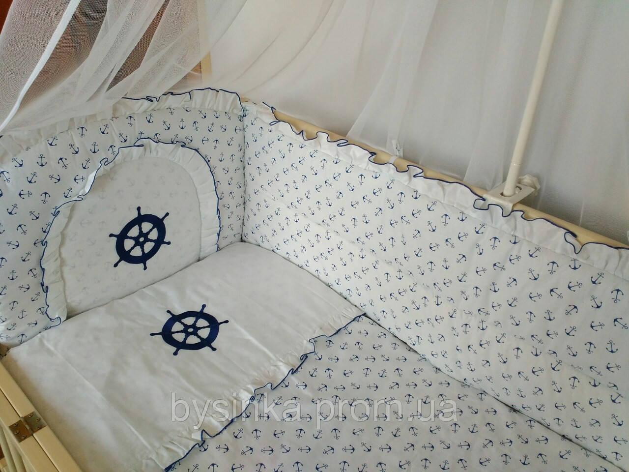 """Детское постельное в кроватку из 3-ед- с вышивкой """"Штурвал"""""""