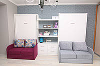 Шкаф-кровать трансформер в детскую с диванами и комодом