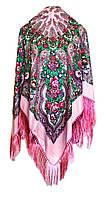 Народный платок Елена, 120х120 см, розовый