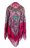 Народный платок Елена, 120х120 см, вишневый