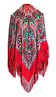 Народный платок Елена, 120х120 см, красный