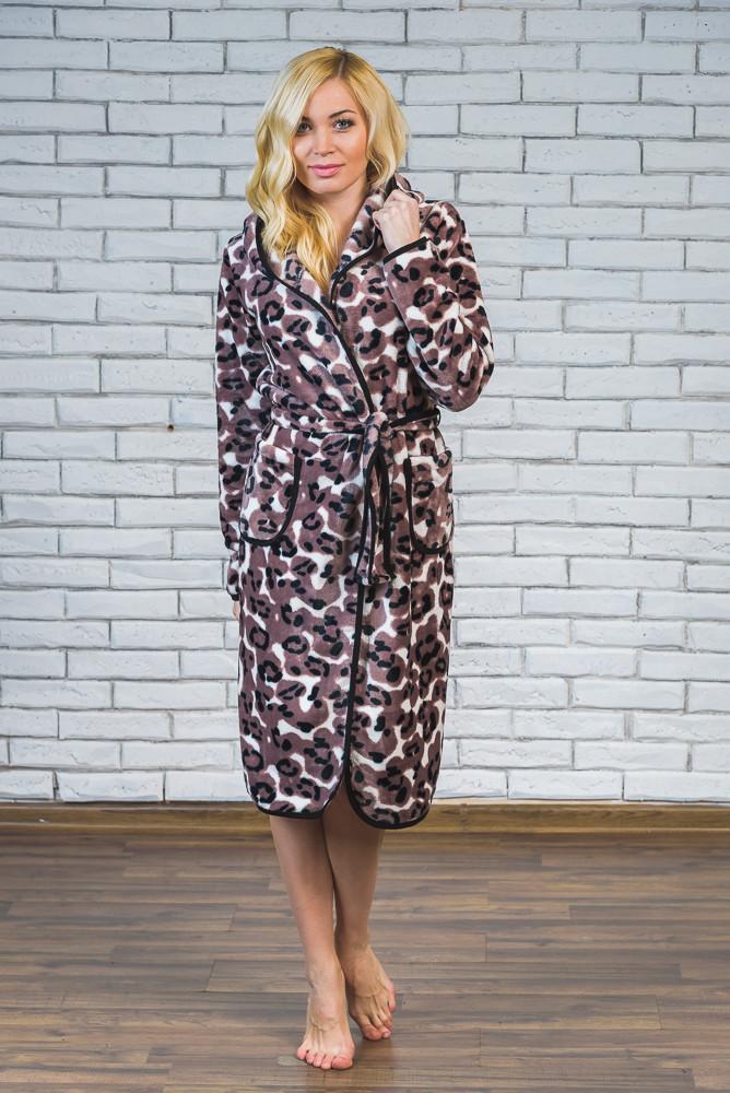 Халат махровый женский леопардовый