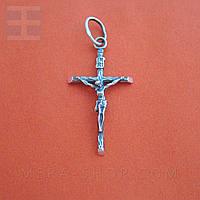 Крестик нательный католический из серебра 1