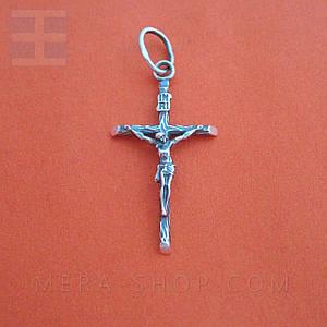 Крест серебряный католический, нательный крестик из серебра 925 пробы (38 х 19 мм, 1.9 г)