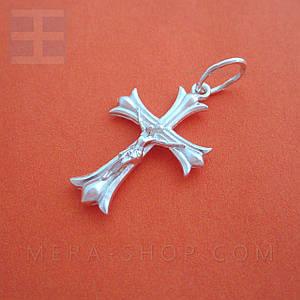 Крест серебряный католический, нательный крестик из серебра 925 пробы (34 х 18 мм, 2.4 г)