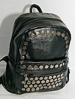 Женский стильный мини- рюкзак из кожзама черного цвета