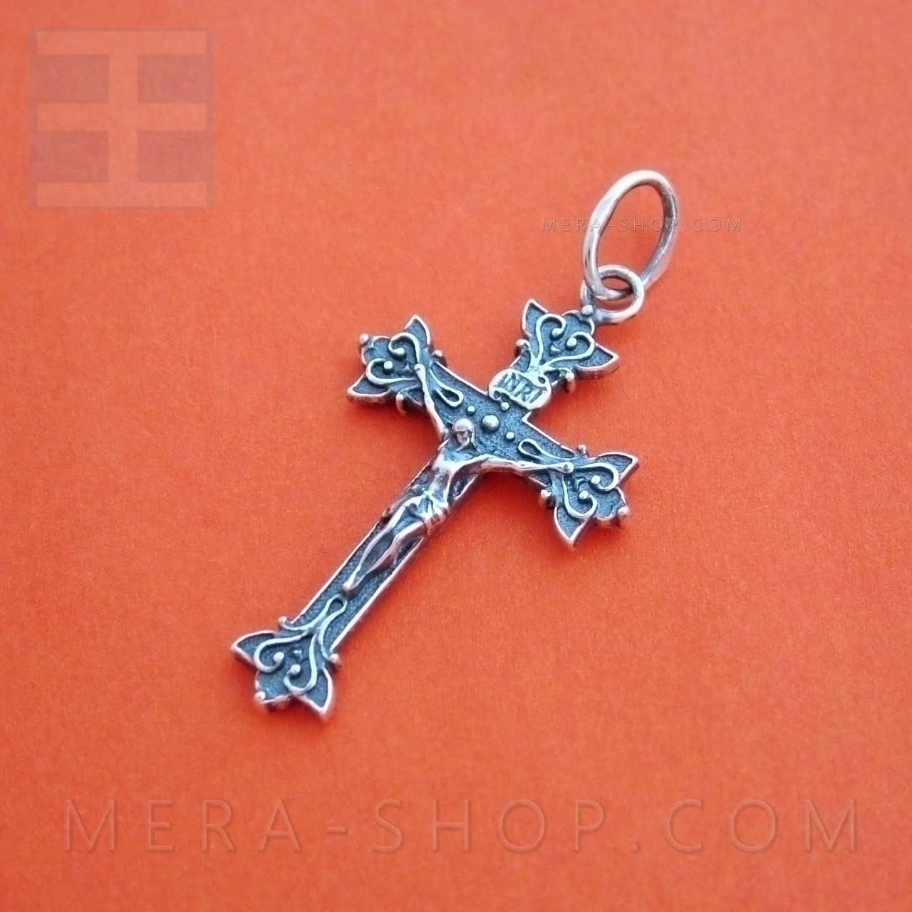 Крест серебряный католический, нательный крестик из серебра 925 пробы (42 х 20 мм, 2.6 г)