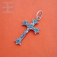 Крестик нательный католический из серебра (к-5)