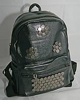 Женский стильный мини-рюкзак из кожзама черного цвета