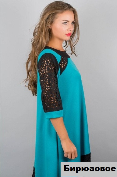 Купить Женское платье асимметрия-бирюзовое