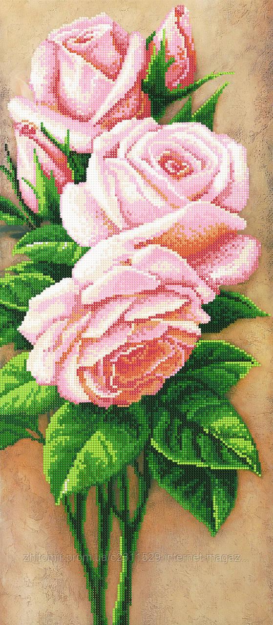 Вышивка розовые розы бисер