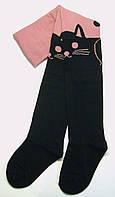 Колготки детские с рисунком розовые с черным котом