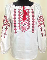 Женская блузка Малуня с вышиванкой больших размеров   42, 44, 46, 48, 50, 52,  54, 56 из батиста