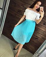 Модная плиссированная юбка из шифона