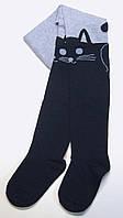 Колготки с рисунком хлопковые голубые с темно-синим котом